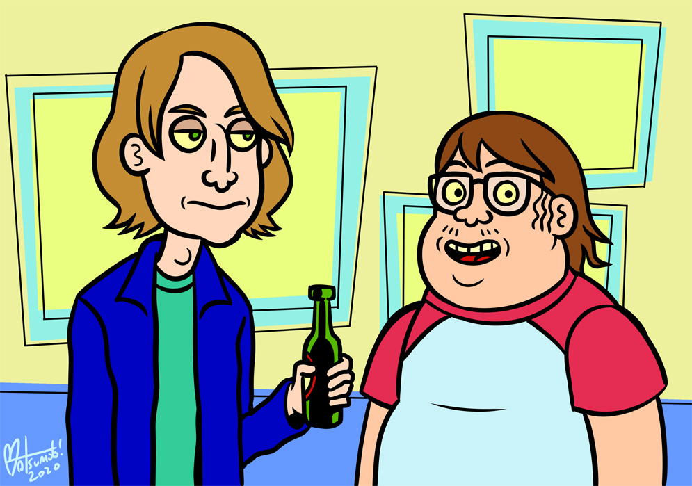 A Mission Hill-style drawing of Bob and Henry, the hosts of Talking Simpsons.