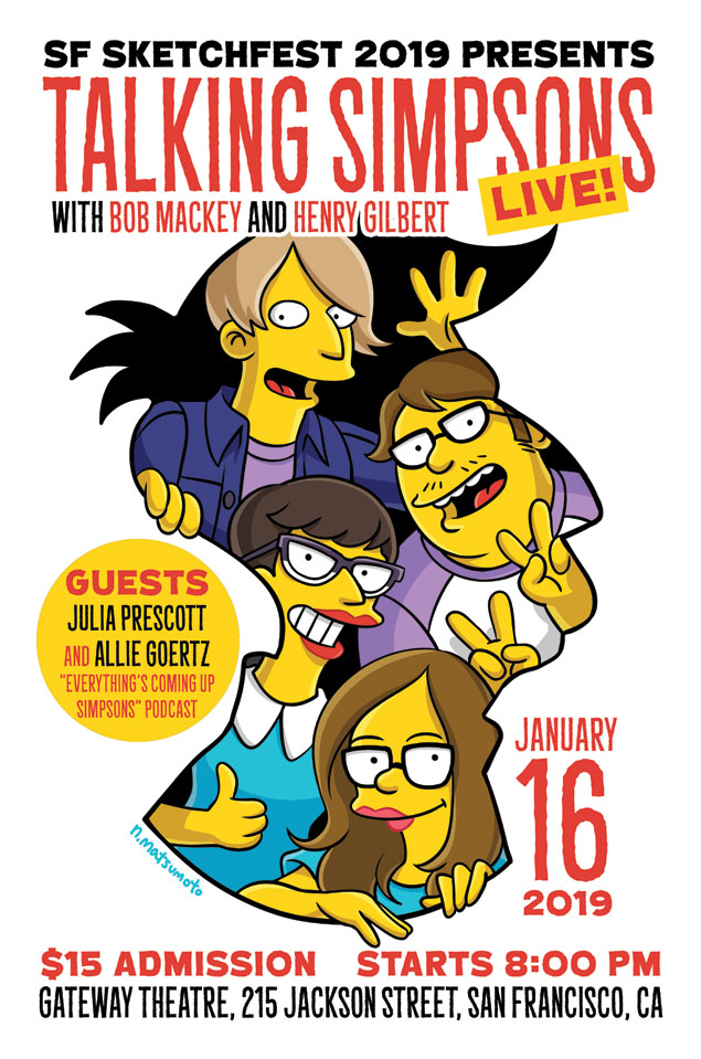 Bob, Henry, and guests Julia Prescott and Allie Goertz are all drawn in the Simpsons style. They happily look at the viewer through a cut-out shaped like Seymour Skinner's head.