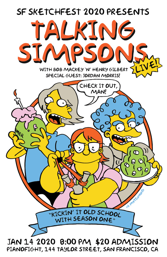 Bob, Henry, and Jordan Morris drawn in the early Simpsons style holding objects evocative of season one.