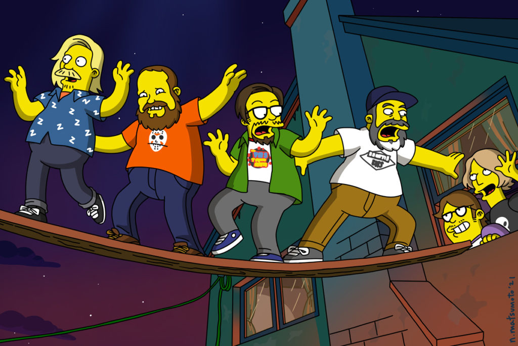 A Simpsons-style drawing depicting the four members of the We Hate Movies podcast walking across a plank leading out the window of the Simpsons family home. The hosts of Talking Simpsons look at them out the window, smiling.